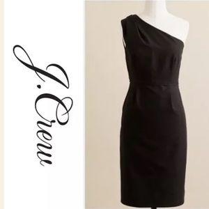 J.crew ♠️ black one shoulder dress size 2
